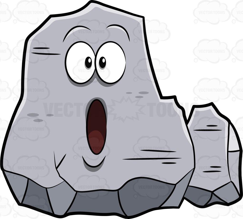 A Big Rock Looking Super Stunned Cartoon Clipart.