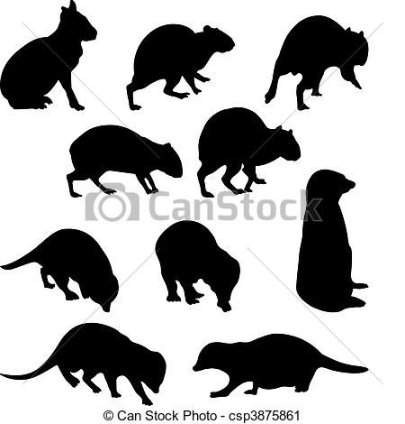 Vector Clip Art of Agoutis and Suricate: big rodent and little.