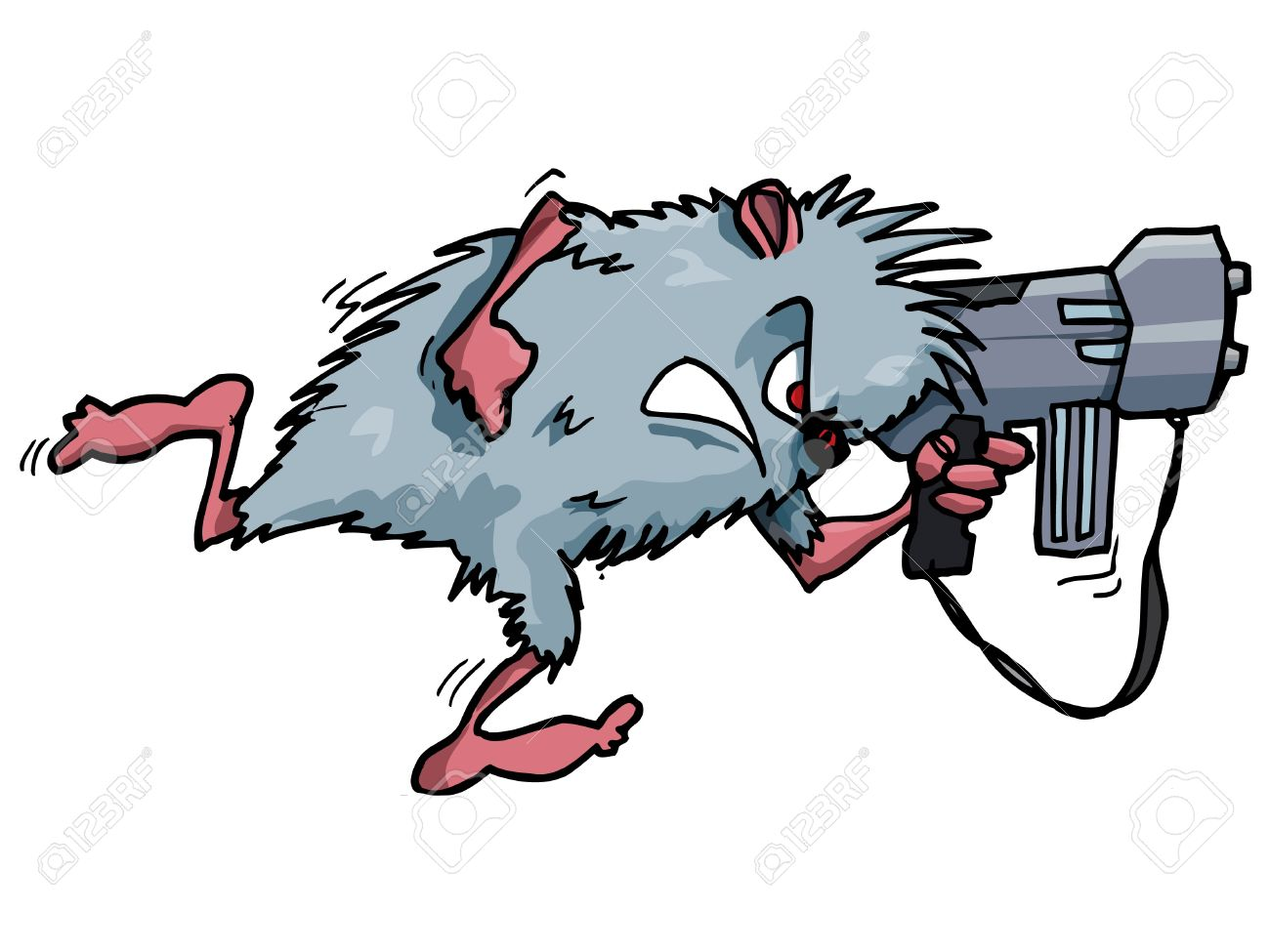 Cartoon Rodent With A Big Gun. Isolated On White Royalty Free.