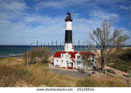 Big Sable Point Lighthouse, Ludington, Michigan Stock Photo.