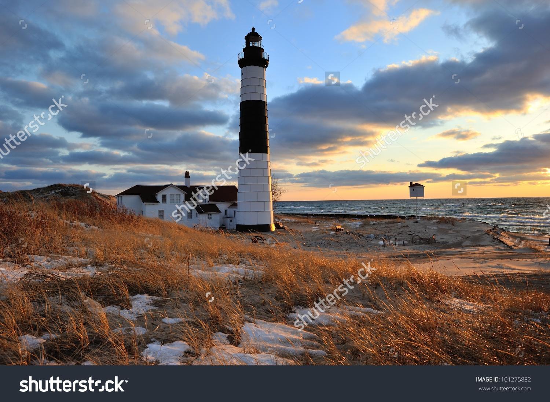 Big Sable Point Lighthouse Sunset, Ludington Michigan, Usa Stock.