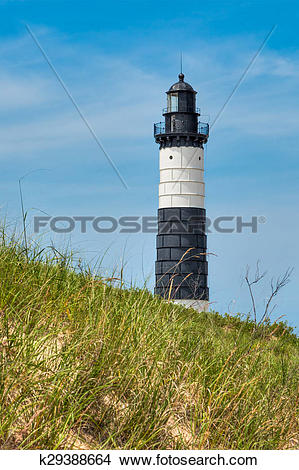 Stock Photo of Big Sable Point Lighthouse and Dune k29388664.
