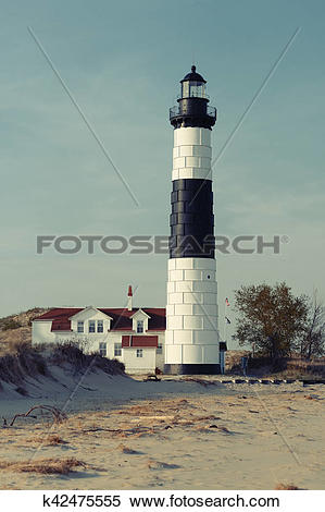 Stock Image of Big Sable Point Lighthouse in dunes, built in 1867.