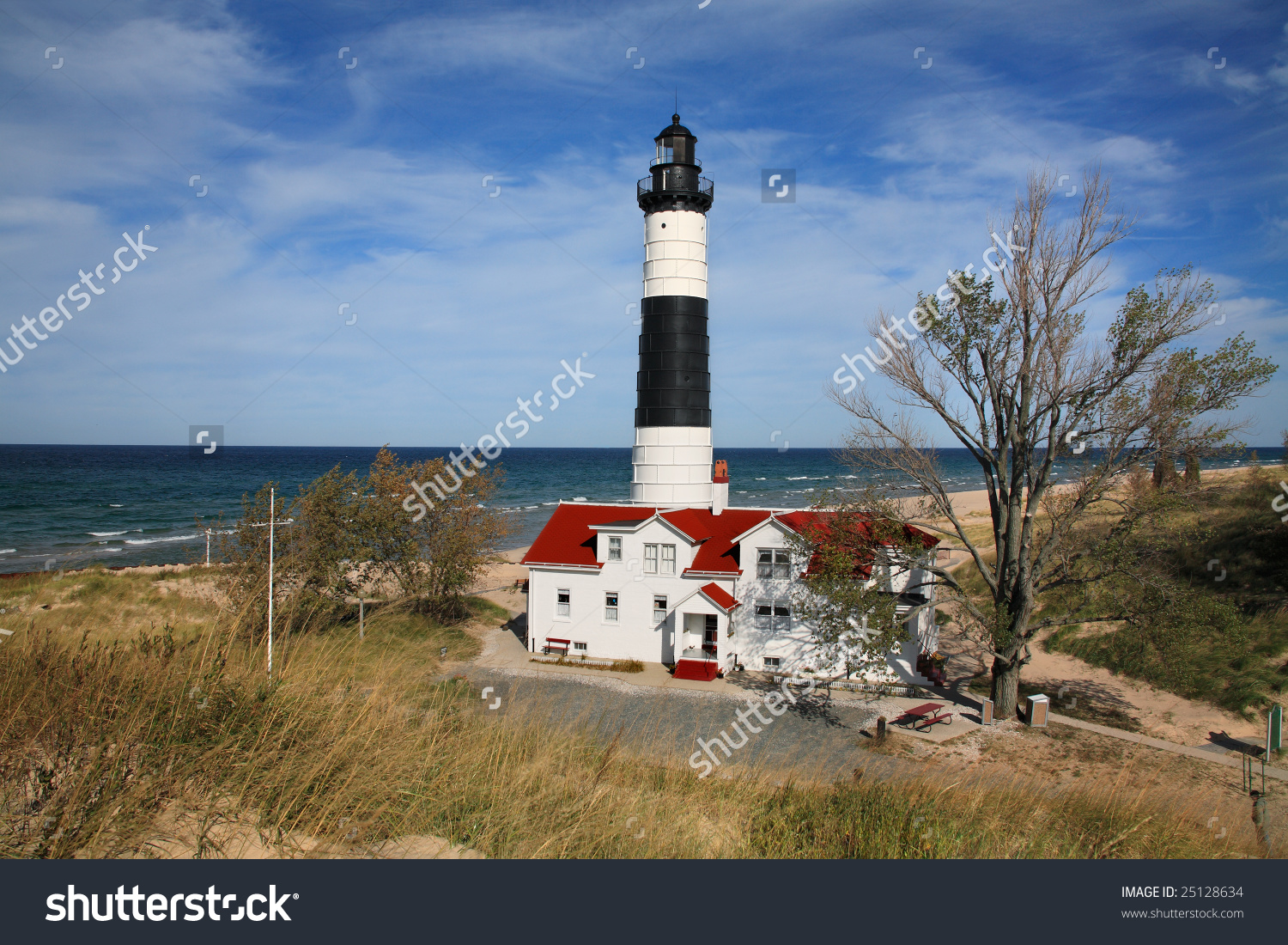 Big Sable Point Lighthouse, Ludington, Michigan Stock Photo.