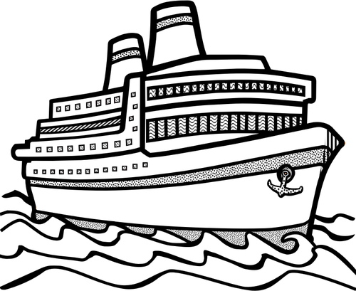 Line art vector drawing of large cruise ship.