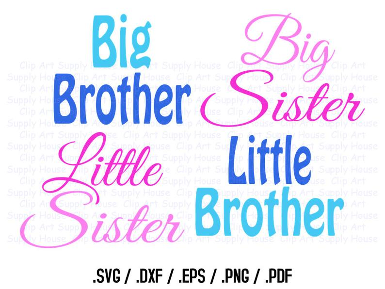 Big Brother, Big Sister, Little Brother, Little Sister, SVG Art, SVG  Clipart, Silhouette Studio, Cricut Design, Brother Scan, Scal.