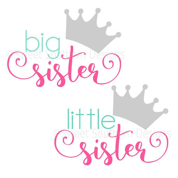 Big sister little sister with crown Princess SVG instant.