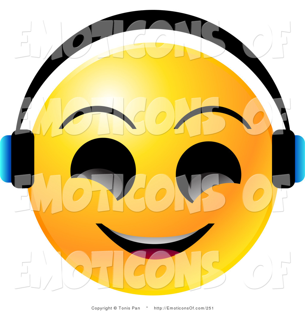 Clip Art Vector of a Yellow Emoticon Face with Big Black Eyes.