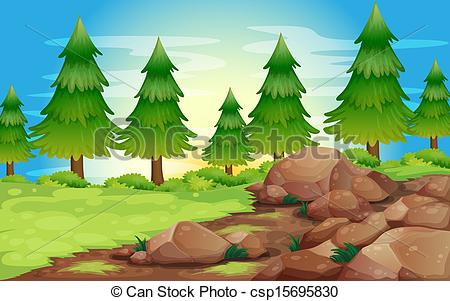 Vectors of Big stones and pine trees.