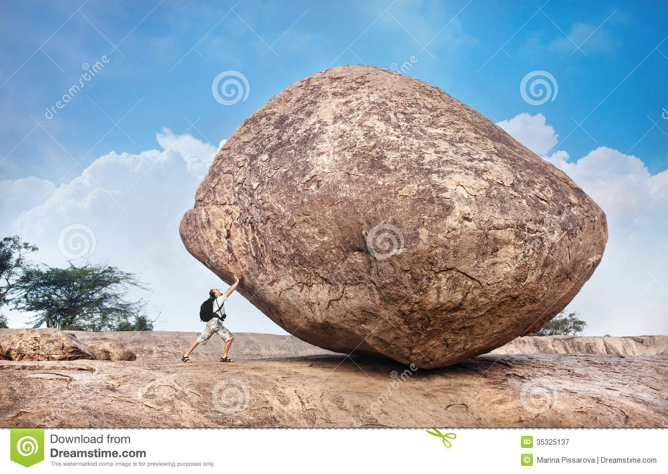 Clipart man pushing stone.