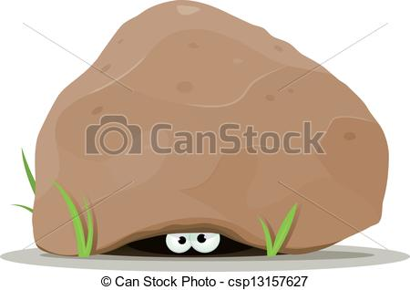 Vector Illustration of Cartoon Animal Eyes Under Big Stone.