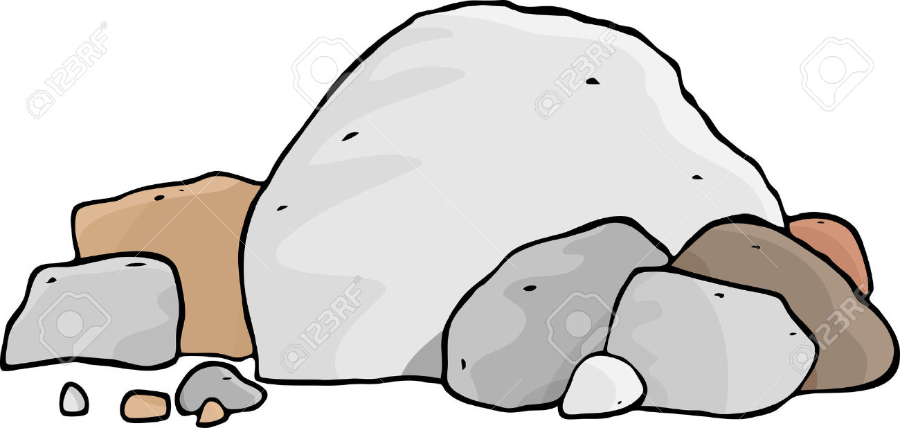 A Pile Of Different Boulders And Rocks. Royalty Free Cliparts.