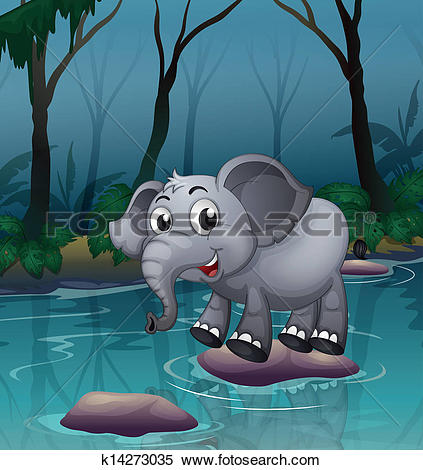 Clipart of An elephant crossing the river by means of the big.