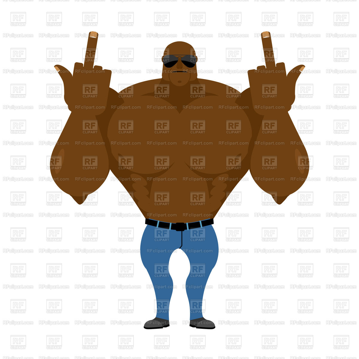 Big strong man. Bodybuilder in jeans shows fuck. Stock Vector Image.