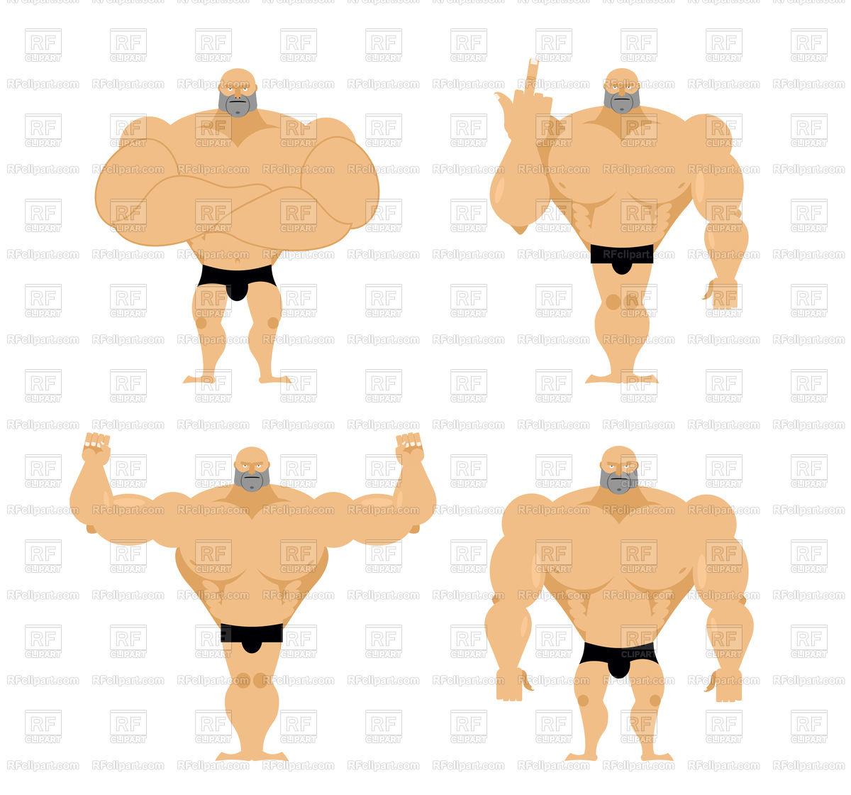 Set of cartoon strong men Stock Vector Image.
