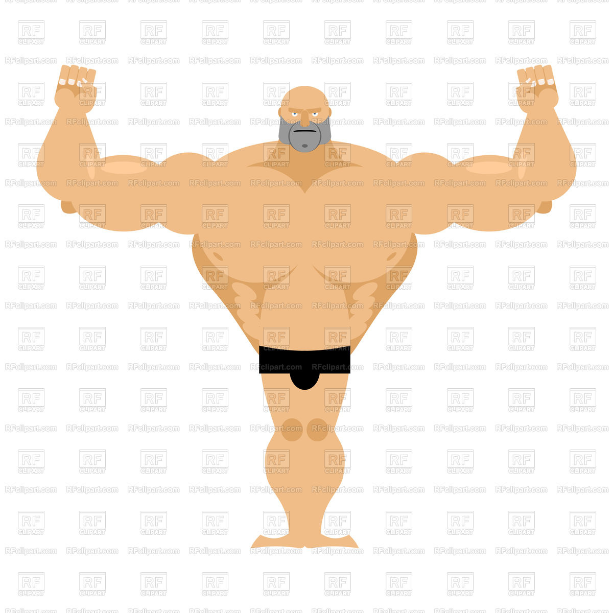 Big strong male athletics. Bodybuilder with huge muscles. Stock Vector Image.