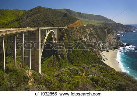 Stock Images of bridge on highway 1 along the pacific ocean near.