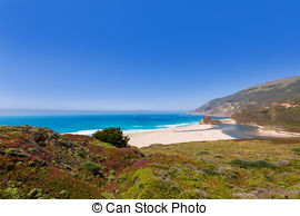 Stock Photography of California beach in Big Sur in Monterey.