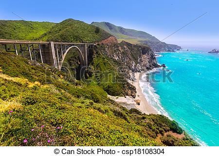 Stock Photography of California Bixby bridge in Big Sur Monterey.