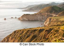 Stock Photographs of Bixby Bridge and Coastline at Big Sur.