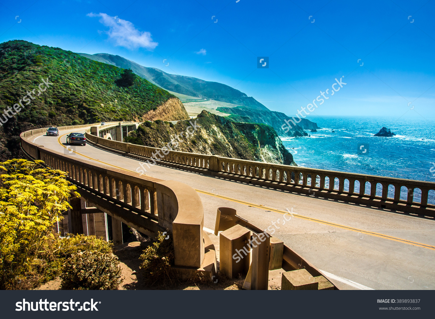 Bixby Creek Bridge On Highway 1 Stock Photo 389893837.