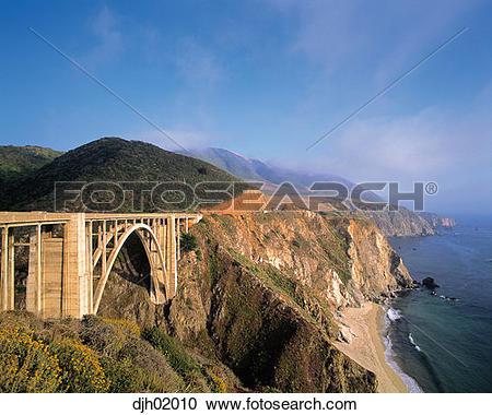Stock Photography of Bixby Creek Bridge and Big Sur Coastline on.