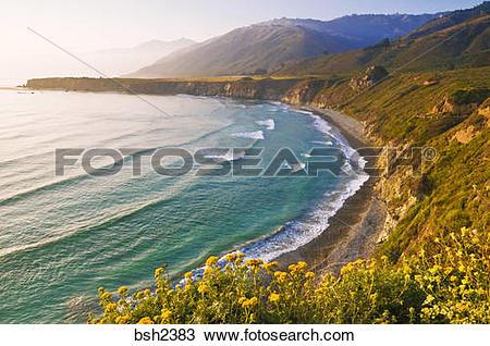 Stock Photo of Evening light on Sand Dollar Beach and the Santa.