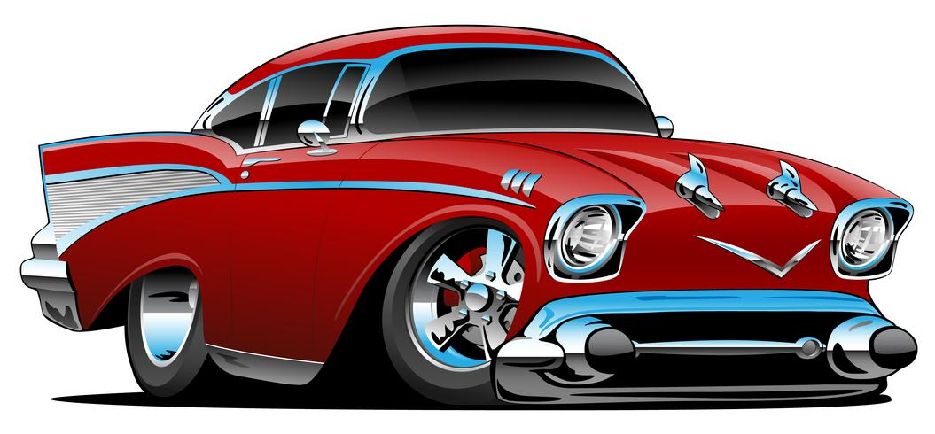 Classic hot rod 57 muscle car, low profile, big tires and.