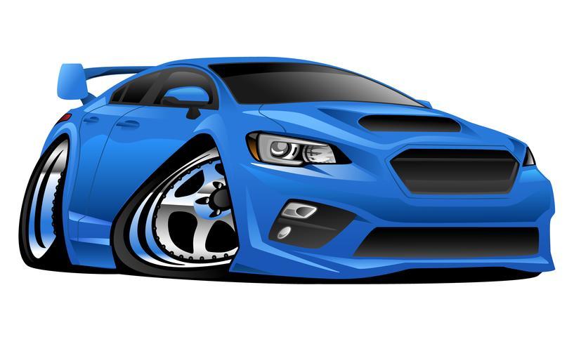 Modern Import Sports Car Cartoon Vector Illustration.