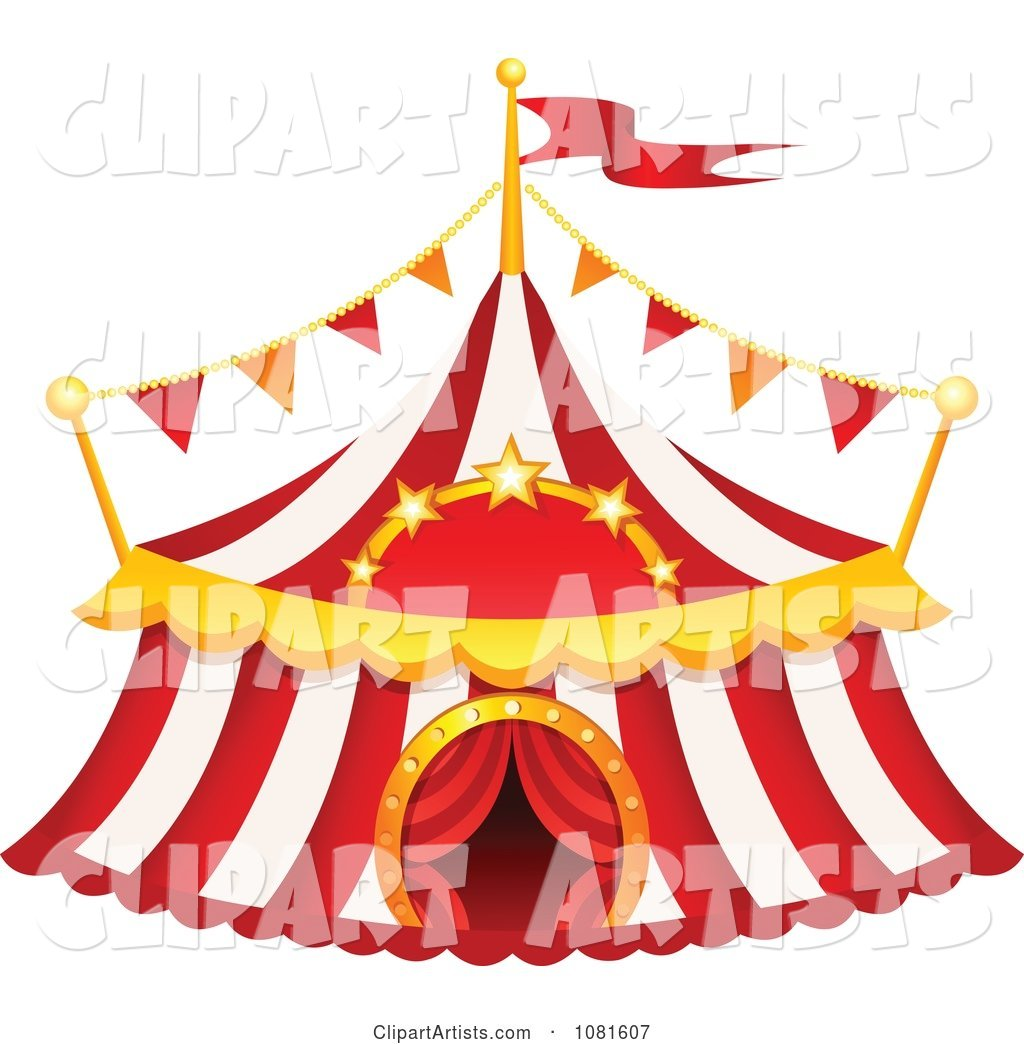 Red And White Striped Big Top Circus Tent Clipart by yayayoyo.