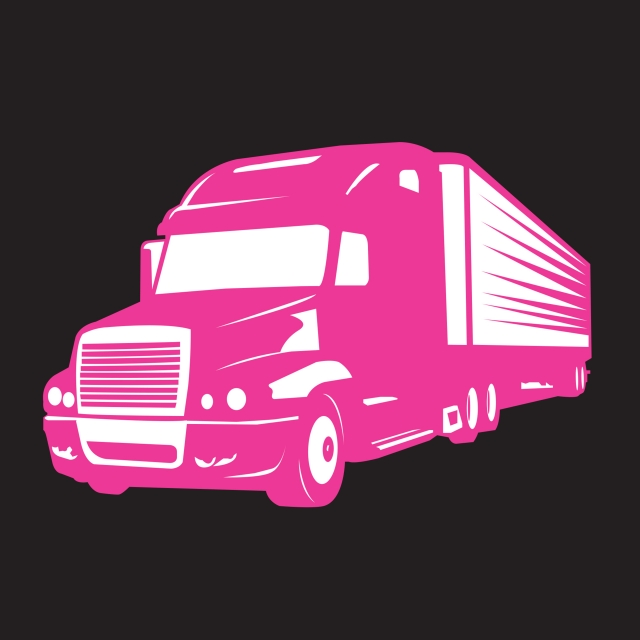 Pink Big Truck Illustration And Symbol Of Women, Truck, Silhouette.