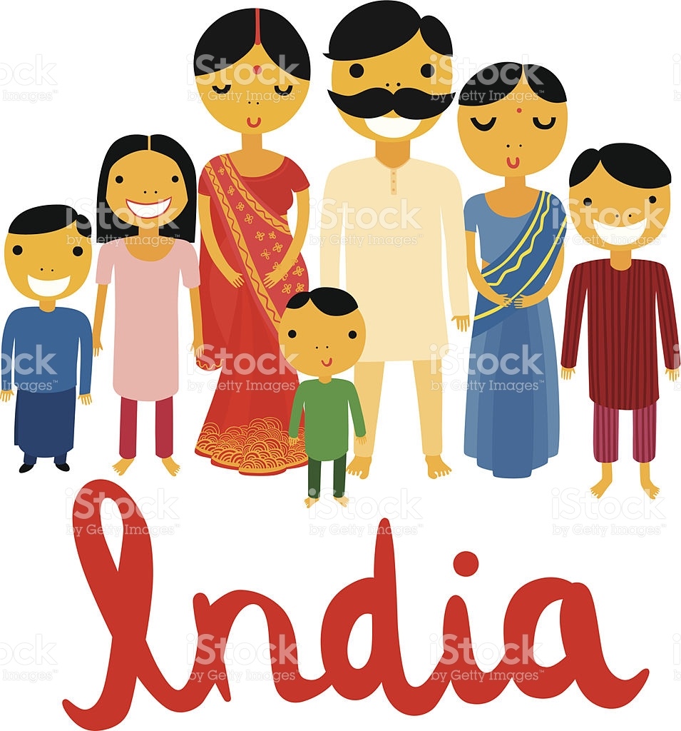 Big Indian Family With India Typography stock vector art 474952885.
