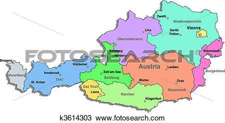 Clipart of Austria map k3614303.