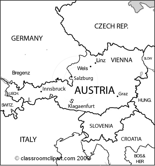 Map of austria clipart.