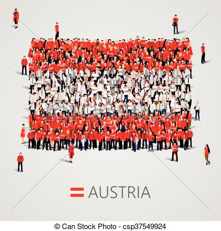 Vector Illustration of Large group of people in the Austria flag.