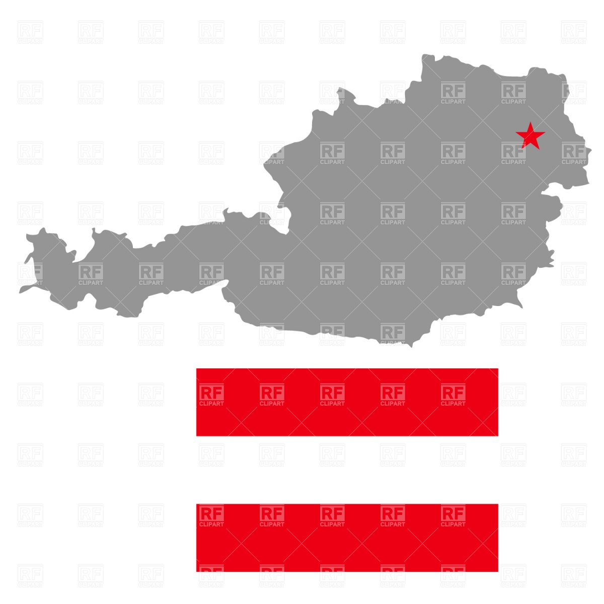 Austria map and flag Vector Image #1031.