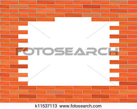 Clipart of brick wall with big hole illustration k11537113.