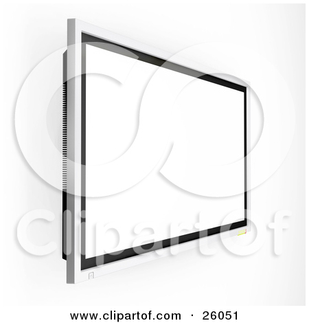 Clipart Illustration of a Wall Mounted Plasma Television Suspended.