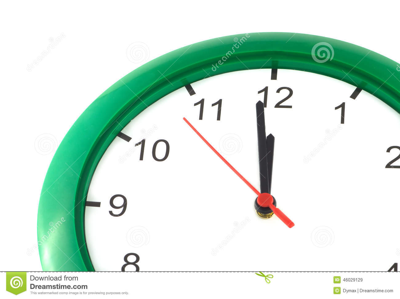 Twelve O'clock On Big Wall Watch Isolated Stock Photo.