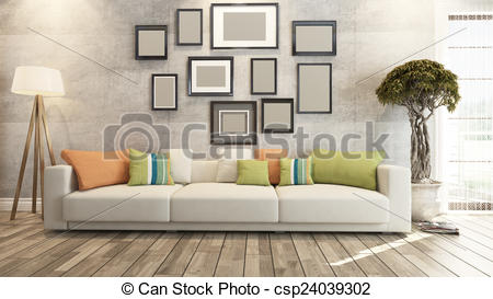 Clipart of living room with big watch on concrete wall 3d.