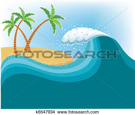 Clipart of Big wave near tropical island.Vector water background.