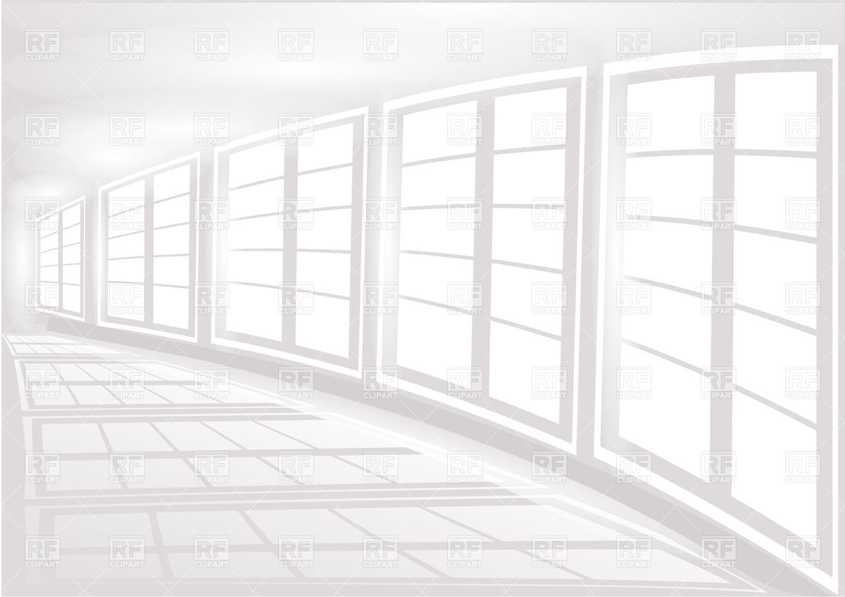White interior with the white large windows Vector Image #25414.