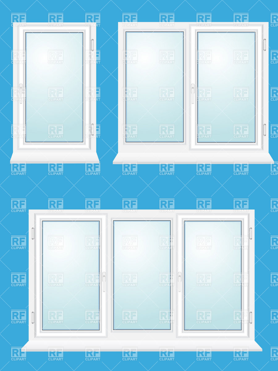 Closed plastic windows with one, two and three sections Vector.