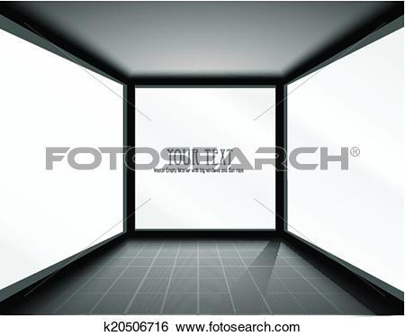Clip Art of Vector Empty Interior with big windows k20506716.