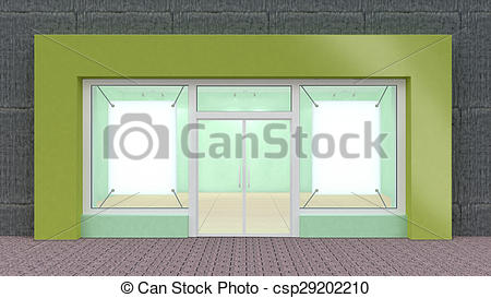 Clipart of Empty green Store Front with Big Windows with border.