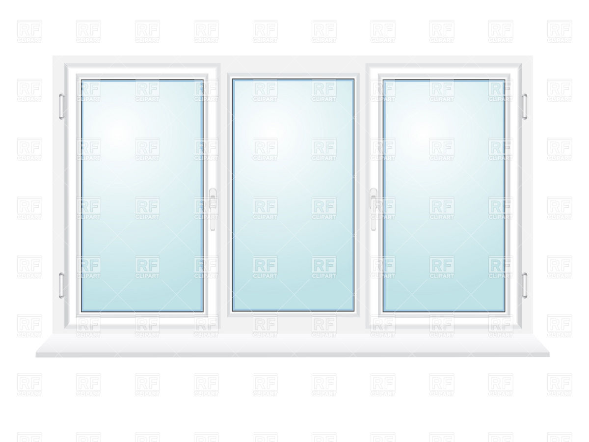 Closed plastic window with three sections Vector Image #19257.