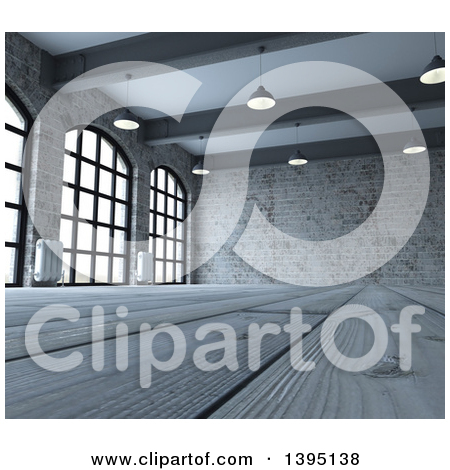 Clipart of a 3d Industrial Warehouse Loft Interior with Hanging.