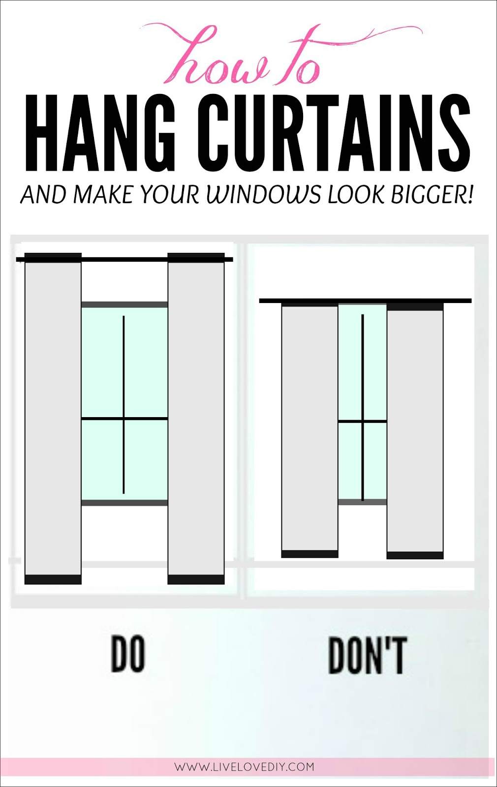 How to hang curtains to make ANY window look bigger! Great tips in.