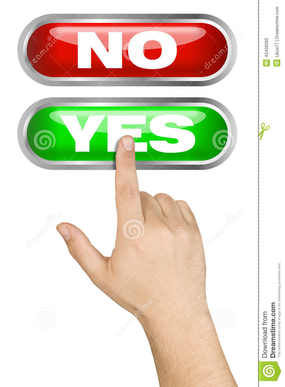 Male Hand Pushing Big Yes Button Stock Photo.