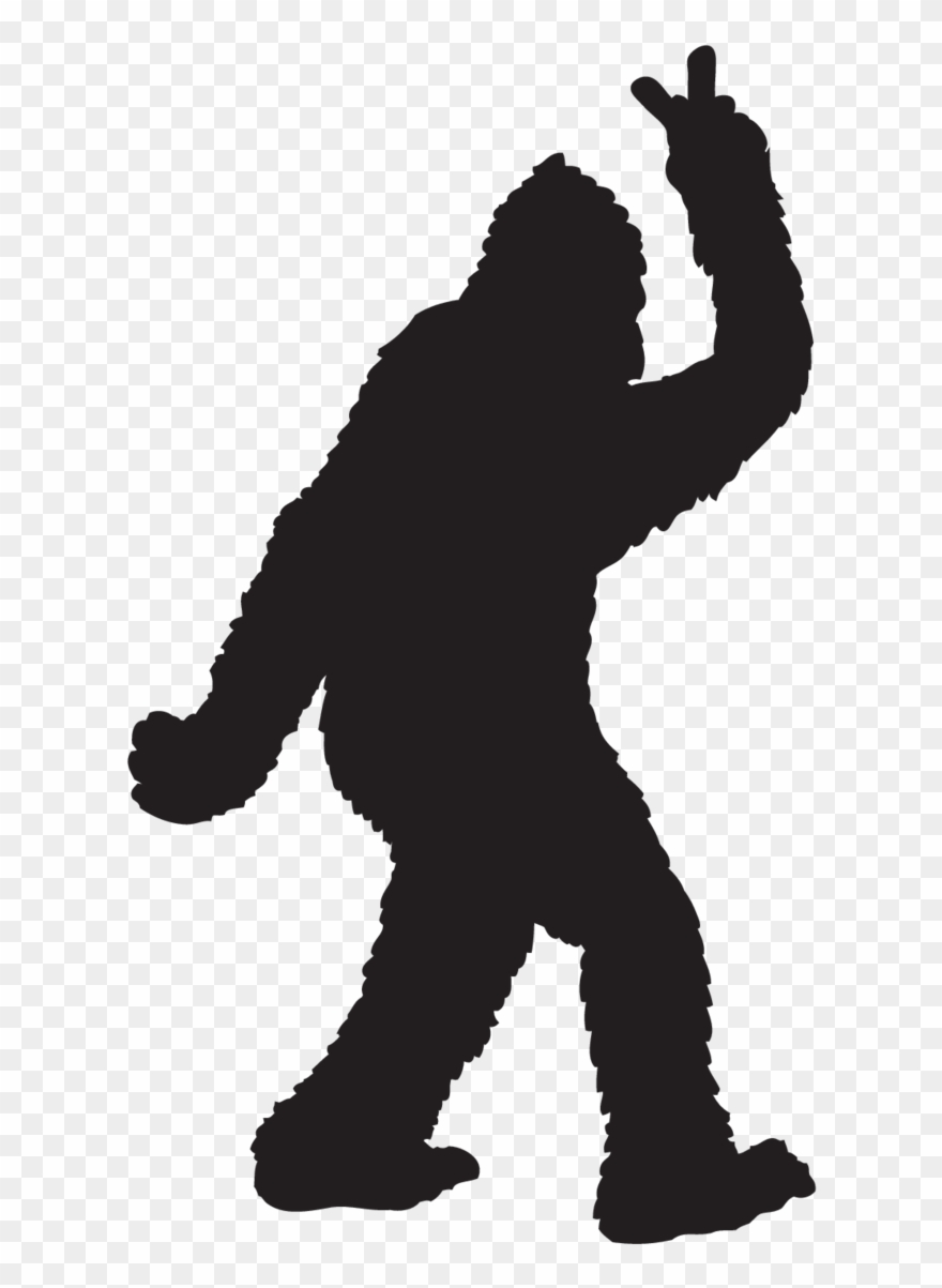 Bigfoot Throwing Peace Sign Sticker.